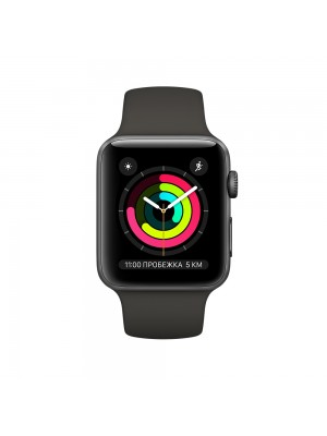 Apple Watch Series 3 42mm Aluminum Case with Sport Band MQL12 Space Grey (Спортивный ремешок цвета черный)